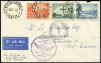 Lot 1092 [2 of 4]:1934-43 [1] attractive locally made Xmas card from Capt black of NGF to Rockhampton & District Patriotic Fund thanking them for their parcels; [2] 1934 (Jul 16) Sydney - New Guinea flight cover; [3] 1950 (Jan 24) cover from with 2½d KGVI to USA, unperpaid and taxed 2c; [4] 1937 (May 12) attractive Coronation day cover from Burma to England with 2a6p KGV optd 'BURMA'. (4)