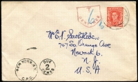 Lot 1092 [3 of 4]:1934-43 [1] attractive locally made Xmas card from Capt black of NGF to Rockhampton & District Patriotic Fund thanking them for their parcels; [2] 1934 (Jul 16) Sydney - New Guinea flight cover; [3] 1950 (Jan 24) cover from with 2½d KGVI to USA, unperpaid and taxed 2c; [4] 1937 (May 12) attractive Coronation day cover from Burma to England with 2a6p KGV optd 'BURMA'. (4)