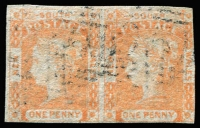 Lot 962 [3 of 3]:1850 1d Sydney Views No Clouds Hard Bluish Paper 4 close/touching margins (vertical crease), 2½-margins, 1d orange-red Laureate pair Watermark '1', 4 close margins (6d) orange & Prussian blue Registered, SG #5,82,104, Cat £800. (3 items)