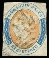 Lot 962 [1 of 3]:1850 1d Sydney Views No Clouds Hard Bluish Paper 4 close/touching margins (vertical crease), 2½-margins, 1d orange-red Laureate pair Watermark '1', 4 close margins (6d) orange & Prussian blue Registered, SG #5,82,104, Cat £800. (3 items)