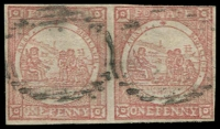 Lot 961:1850 1d Sydney Views No Clouds Hard Bluish Paper 1d pale red pair, SG #5, 3½-margins, small crease in top right corner, Cat £950.