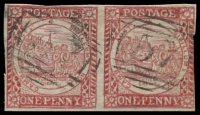 Lot 963:1850 1d Sydney Views With Clouds Hard Toned White to Yellowish Paper 1d dull carmine pair, SG #8, cut-into at right, otherwise good to close margins, BN '57' 2R of Raymond Terrace, Cat £750.
