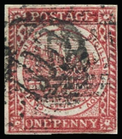 Lot 965:1850 1d Sydney Views With Clouds Laid Paper 1d carmine SG #13, 4-margins, indistinct numeral cancel, Cat £700.
