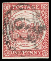 Lot 967:1850 1d Sydney Views With Clouds Laid Paper 1d vermilion, SG #14, 4-margins, '67' numeral cancel of Muswellbrook, Cat £650.