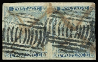 Lot 971:1850 2d Sydney Views Plate III 2d ultramarine pair 4 good margins (close at right), right unit with Double lines on bale, SG #29,29c, originally cancel with red mss crosses and re-cancelled with barred obliterater in Sydney, Cat £575+.