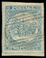 Lot 970:1850 2d Sydney Views Plate II Early Impressions prob bright blue shade with CREVIT omitted, SG #24g, four good to large margins, small closed tear at left, a very attractive-looking stamp, Cat £650.