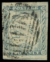 Lot 969:1850 2d Sydney Views Plate I Lower Row Retouched dull blue 4-margins, SG #20, Cat £350.