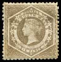Lot 989:1860-72 Diadems Wmk Double-Lined Numeral Perf 12 6d grey-brown, SG #143, Cat £850.