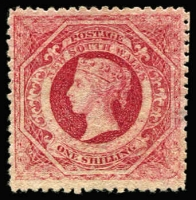 Lot 990:1860-72 Diadems Wmk Double-Lined Numeral Perf 13 1/- carmine SG #169, small thin, MNG, Cat £350.