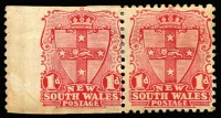 Lot 425:1899 Chalk-Surfaced Paper Wmk 2nd Crown/NSW Perf 12x11 1d carmine horizontal pair, left unit Imperf on 3 sides, SG #299a, gum a little aged, Cat £1,000 as vertical pair.