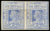 Lot 1007:1899 Chalk-Surfaced Paper Wmk 2nd Crown/NSW Perf 12x11 2d cobalt-blue Imperf pair, SG #302a, mild toning, Cat £300.