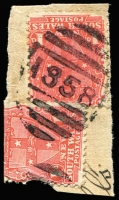 Lot 625:1858: BN on 1d Arms x2 (1x faulty). [Rated 4R]  Allocated to New Park-PO 1/12/1897; replaced by Kyogle PO 27/1/1903.