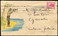 Lot 1450 [1 of 2]:1913 use of 1d Universal with Auckland Exhibition slogan to Gavutu, Solomons, attractive watercolour and ink illustration of soldier? on Gavutu looking out to sea.