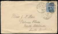 Lot 1245 [1 of 2]:1896 (Aug 11) cover to Adelaide. Cover apparently posted without stamps and a 2d Emu was applied and cancelled at Sydney. The Norfolk Island cds is quite good. A rare and desirable item. [The writer appears to have been a missionary on the island writing home to her sister.]