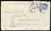 Lot 1246 [1 of 2]:1903 (Apr 15) use of 2d blue on cover to Adelaide. The Norfolk Island cds, while poor, is still better than most in the period. The cover is flimsy with a some tears etc, still a rare and desirable item. [The writer appears to have been a missionary on the island writing home to her sister.]