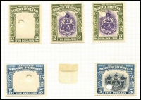 Lot 1453 [2 of 6]:1939 Pictorial set 1c to $5 (SG #303-317) Waterlow file stamps in issued colours, complete from each printing, with imperforate frames of 1c (4), 2c (3), 3c, 4c (3), 6c, 10c, 12c, 15c (2), 20c (2), 25c (2), 50c, $1 (2), $2 & $5, completed designs of 1c (3), 2c (3), 3c, 4c (2), 6c, 8c, 10c, 12c, 15c (2), 20c (2), 25c (2), 50c, $1 (2) & $5, plus perforated as issued of 1c (2), 2c (3), 3c, 4c (2), 6c, 10c, 12c, 15c, 20c (2), 25c (2), 50c, $1, $2 & $5. All with security punch and four with printer's manuscripts corrections. Fine to very fine mint, some creases etc as to be expected with a lot of the type. Cat £5,223 as normals. Magnificent collection from the printer's archive. (68)