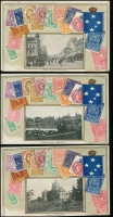 Lot 165 [4 of 5]:Australia - Stamps on Cards: collection of 44 Zeiher/VSM style cards, including many with pictures (Vic x16, SA x5, Tas x2, WA x2 & Qld x19), many are embossed. Includes an original tatty, VSM packet for a set of 12 Brisbane scenes. A very fine range. (46 items)
