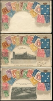 Lot 165 [5 of 5]:Australia - Stamps on Cards: collection of 44 Zeiher/VSM style cards, including many with pictures (Vic x16, SA x5, Tas x2, WA x2 & Qld x19), many are embossed. Includes an original tatty, VSM packet for a set of 12 Brisbane scenes. A very fine range. (46 items)