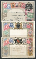 Lot 169 [3 of 3]:World - Stamps on Cards: collection (no Australia) of Zieher-style cards, several with pictures including Trinidad, Fiji, France, Belgium, Germany, New Zealand, many are embossed. A very fine range. (110+)