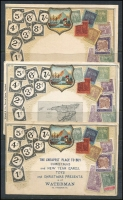 Lot 169 [1 of 3]:World - Stamps on Cards: collection (no Australia) of Zieher-style cards, several with pictures including Trinidad, Fiji, France, Belgium, Germany, New Zealand, many are embossed. A very fine range. (110+)