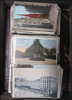 Lot 168:World: in shoebox with old-time album and range of real-photo cards of family, etc, comic cards and good range of USA & Canada cards.