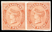 Lot 1013 [2 of 4]:1879-81 Sideface Plate Proofs pairs on thin no watermark card for 1d reddish brown, 1d dull blue, 4d orange-yellow and 6d yellow-green, odd blemish. (4 prs)