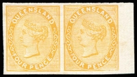 Lot 1013 [4 of 4]:1879-81 Sideface Plate Proofs pairs on thin no watermark card for 1d reddish brown, 1d dull blue, 4d orange-yellow and 6d yellow-green, odd blemish. (4 prs)