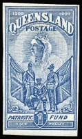 Lot 1016:1900 Charity 1d deep blue, Imperforate Colour Trial on watermarked paper, very fine.