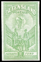 Lot 1017:1900 Charity 1d yellow-green, Imperforate Colour Trial on watermarked paper, very fine.