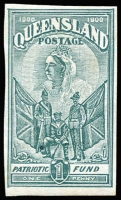 Lot 1018:1900 Charity 1d blue-green, Imperforate Colour Trial on watermarked paper, very fine.