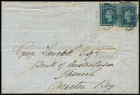 Lot 1011 [1 of 2]:1857 (Mar 3) inwards wrapper from Frazers Creek, NSW (about 20km S of Qld border) to Ipswich, 2d Diadem x2 cancelled with fair '118' BN, good backstamp of Frazers Creek (very rare), Warwick, Drayton and Ispwich. Small faults, quite scarce.