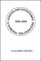 Lot 141:Australia - Queensland: Queensland Datestamps & Numeral Obliterators 1860-2000 by Cowan & Dell, loose leaf in binder, trifle soiled, otherwise good condition.