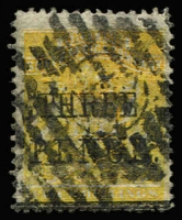 Lot 1562:1896 Matabele Rebellion Provisional 3d on 5/- orange-yellow, SG #53, used, Cat £250.