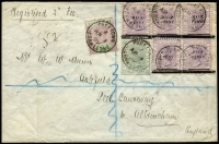 Lot 1462 [1 of 2]:1899 (Apr 1) registered cover to England franked with 1884 QV ½d SG #27 (rare on cover) & ½d on 1½d pale violet SG #39 irregular block of 5 and 1896-97 ½d SG #41 tied by individual strikes of Freetown cds, backstamps Liverpool and Manchester. Attractive tri-colour franking.