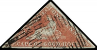 Lot 1826:1855 Perkins Bacon Triangles Paper Deeply Blued 1d pale brick-red, 3-margins, SG #1a, Cat £475.