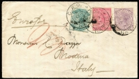 Lot 1465 [1 of 2]:1883 (Sep 17) cover to Italy franked with ½d, 1d & 6d QV tied by GPO Natal cds, backstamps of London & Modena. Attractive three colour franking.