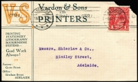 "Lot 325 [3 of 4]:1875-1916 group with most being 19th Century, noted 6d pair on 1875 cover to England, 1880 local 'UNCLAIMED' North Adelaide cover, attractive 1916 Vardon & Sons advertising front. Plus range mainly mint stationery, also 'TAX ""2"" on 1930s underpaid Samarai front, condition is quite mixed. (32)"