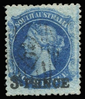 Lot 1046:1868-79 Wmk Large Star Perf 11½-12½ '3 PENCE' in black on 4d Prussian blue, SG #66, very fine used, Cat £850. Ex Napier. RPSL Certificate (1965).