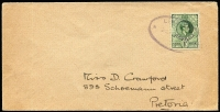 Lot 1468:1941 (Dec 22) cover to Pretoria franked with ½d green KGVI tied by violet oval 'LISMORE' datestamp. Very rare printed matter rate with unsealed flap.