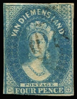 Lot 1069 [2 of 2]:1855 Imperf Chalon Wmk Large Star 4d deep blue (close margins just touching at top) & 4d blue (close to just touching at base), SG #17-8, FU, Cat £260. (2)