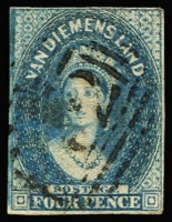Lot 1069 [1 of 2]:1855 Imperf Chalon Wmk Large Star 4d deep blue (close margins just touching at top) & 4d blue (close to just touching at base), SG #17-8, FU, Cat £260. (2)