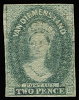 Lot 1247:1857-67 Imperf Chalon Wmk Double-Lined Numeral 4d slate-green 4-margins, SG #34, MNG, Cat £425.