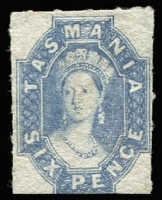 Lot 1071:1863-71 Chalon Wmk Double-Lined Numeral Roulette 8 6d dull lilac, rouletted on 3 sides, SG #55, very light fiscal? cancel, Cat £500.