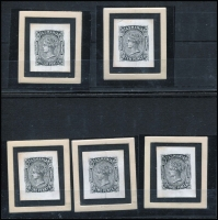 Lot 1074 [2 of 2]:1870-78 Sideface Sideface Die Proofs in black for 1d, 2d, 3d, 4d, 10d and 5/- on individual white glazed cards (26x32mm). Rare group. (6)