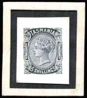 Lot 1074 [1 of 2]:1870-78 Sideface Sideface Die Proofs in black for 1d, 2d, 3d, 4d, 10d and 5/- on individual white glazed cards (26x32mm). Rare group. (6)