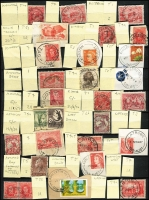 Lot 1090 [3 of 8]:1920s-80s Collection in nearly full 32pp stockbook, all identified by name and type, no duplication with generally good quality strikes, noted 1966 Blue Rocks, 1940s Bronte, 1930s Catamaran, 1952 Christmas Hills, 1971 Dulverton, 1947 Koomeela, 1968 Mella, 1956 Narracoopa, 1915 Natone, 1936 Parrawee, 1956 Upper Esk. Good lot includes reliefs & TPOs. (100s)