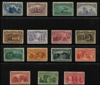Lot 1605 [2 of 2]:1893 Columbian Exposition 1c to $5 set, Sc #230-45, mint, Cat $8,900 (SG #235-50 Cat £11,000), fine appearance, variable condition. (16)