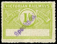 Lot 1098:1934 Winged Series 1/6d green on white with grey pattern, no station name, Craig 3.1484, with diagonal 'Specimen' handstamp, crease, MUH. Very rare.