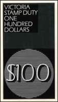 Lot 1097:1966 $100 Stamp Duty Essay: hand-drawn in black (90x165mm) on white card. Likely to be unique. A wonderful item for the specialist.