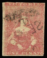 Lot 1091:1854 Half-Length Campbell & Co 1d rose [pos 17] 2-margins others just touching, SG #23a, Cat £750.